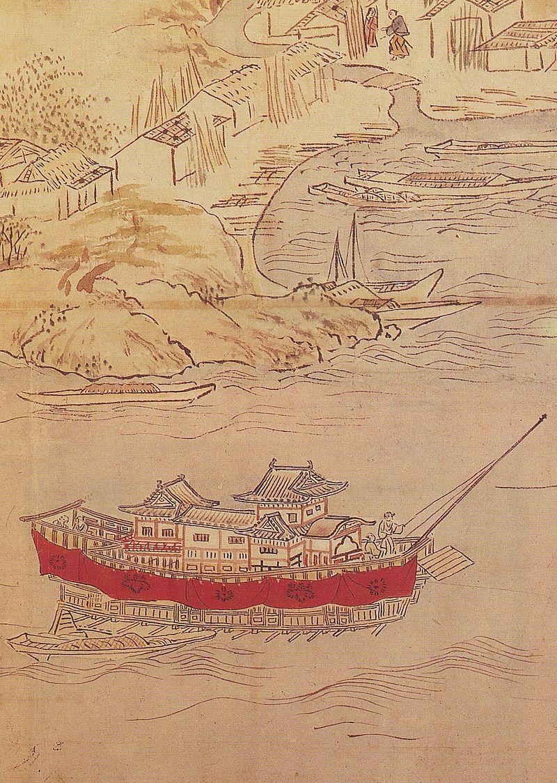 Arakebune_in_Hizen_Nagoya_Castle_byobu